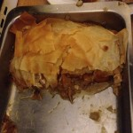 The pie cut in half in all its glory